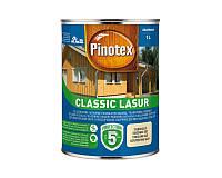 Лазурь-лак антисептический PINOTEX CLASSIC LASUR для древесины матовый бесцветный 1л