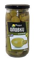 Оливки Домашні продукти 380г з огірком