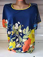 """Летняя женская футболка """"Цветы"""" размер 48-56, синего цвета"""