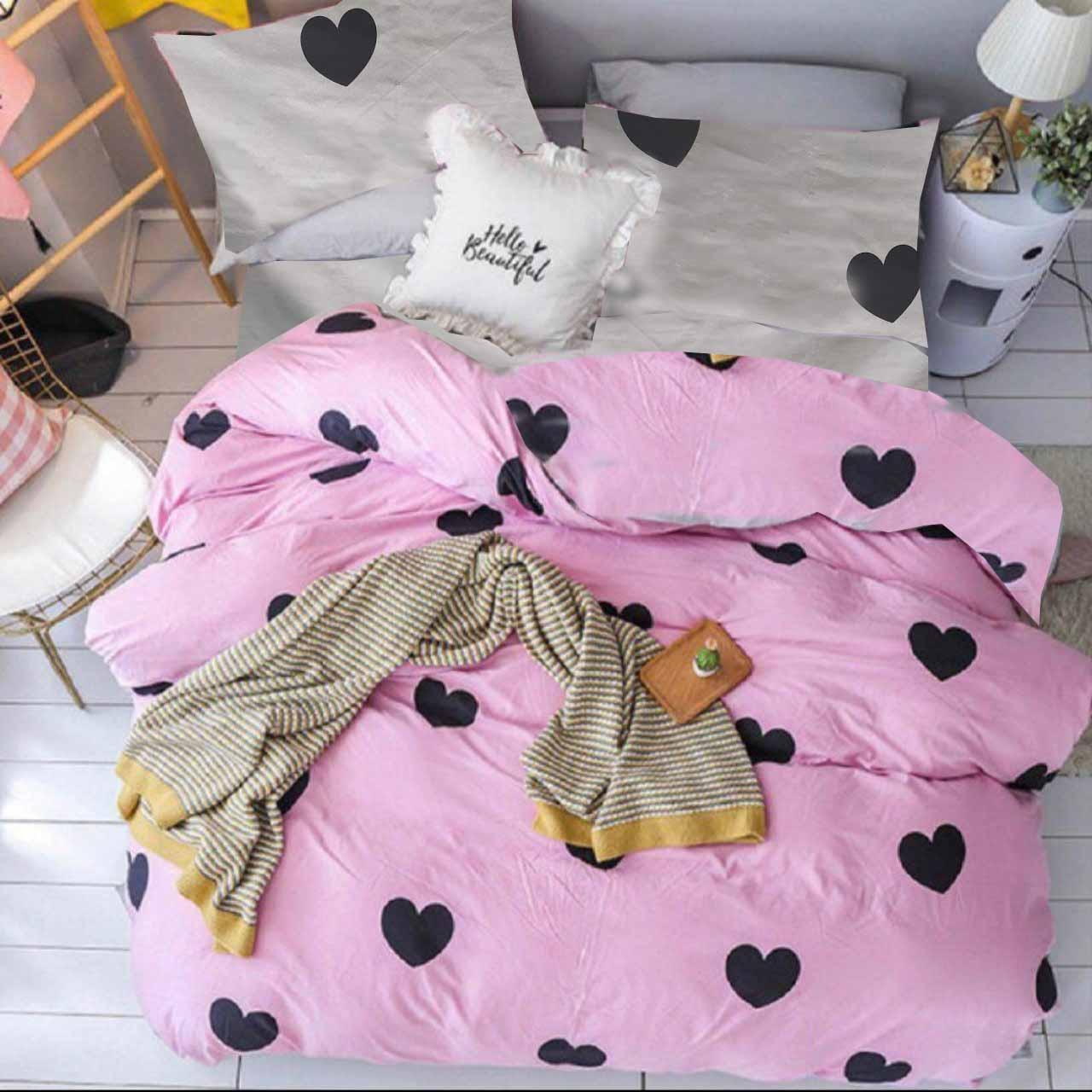Комплект семейного постельного белья топ качества, сердечки