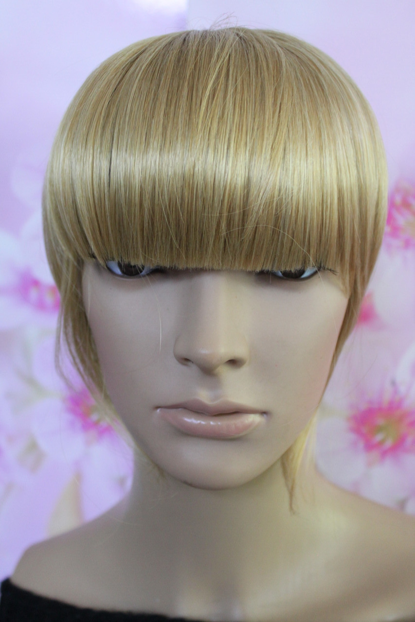 Челка на заколках искусственные волосы блонд золотистый