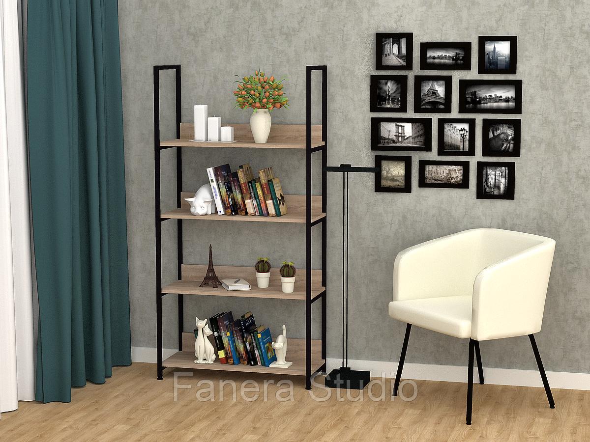 Полиця для книг, офісний стелаж метал, стелаж лофт на чотири полички
