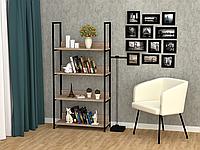 Полка для книг, офисный стеллаж металл, стеллаж лофт на четыре полочки