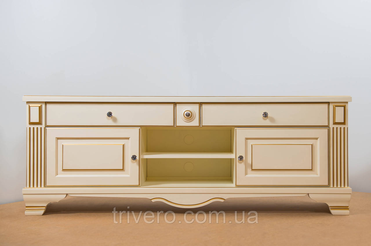 ТВ тумба деревянная белая с золотом