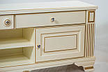ТВ тумба деревянная белая с золотом, фото 3