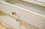 ТВ тумба деревянная белая с золотом, фото 4