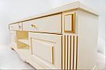 ТВ тумба деревянная белая с золотом, фото 5