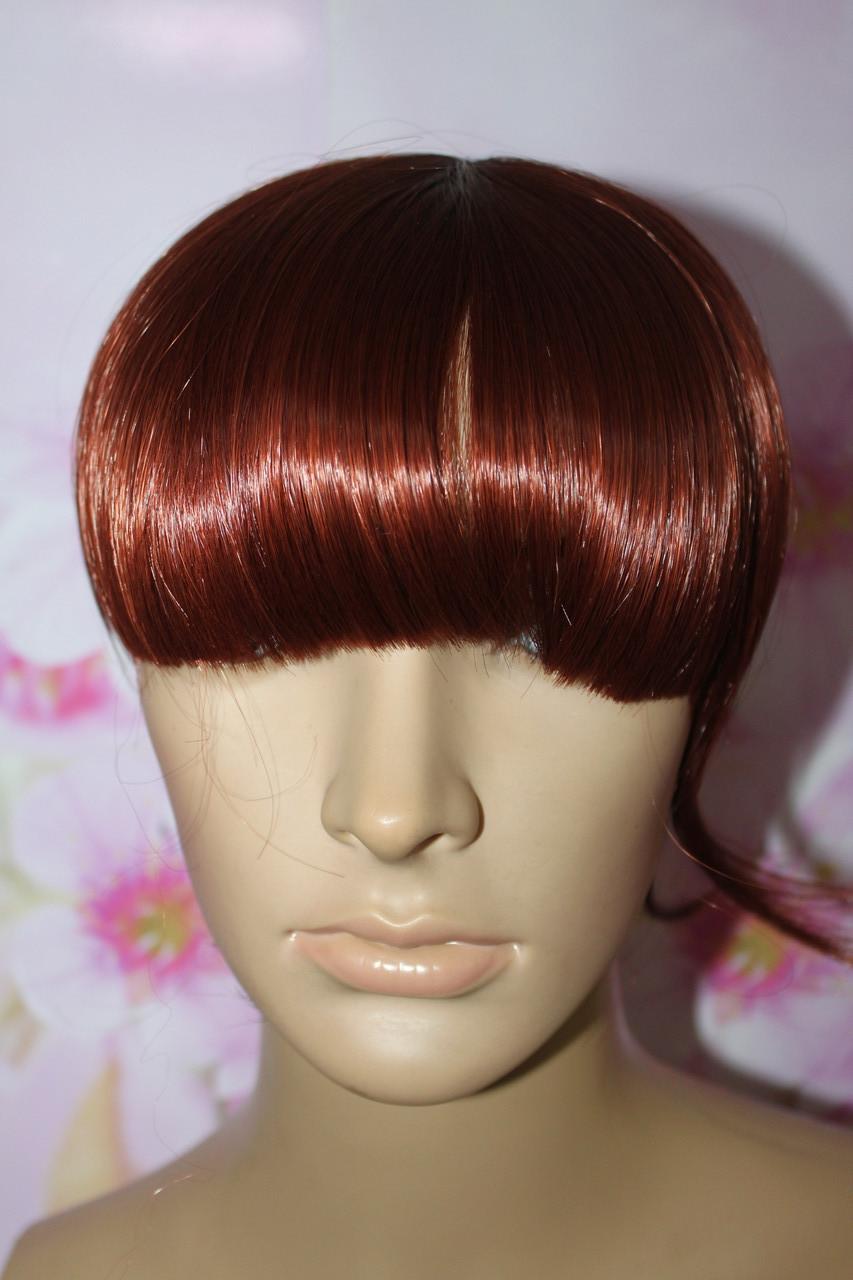 Челка на заколках искусственные волосы вишневый