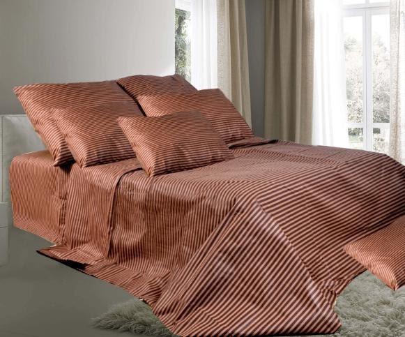 Постельное белье в коричневую полоску, евро
