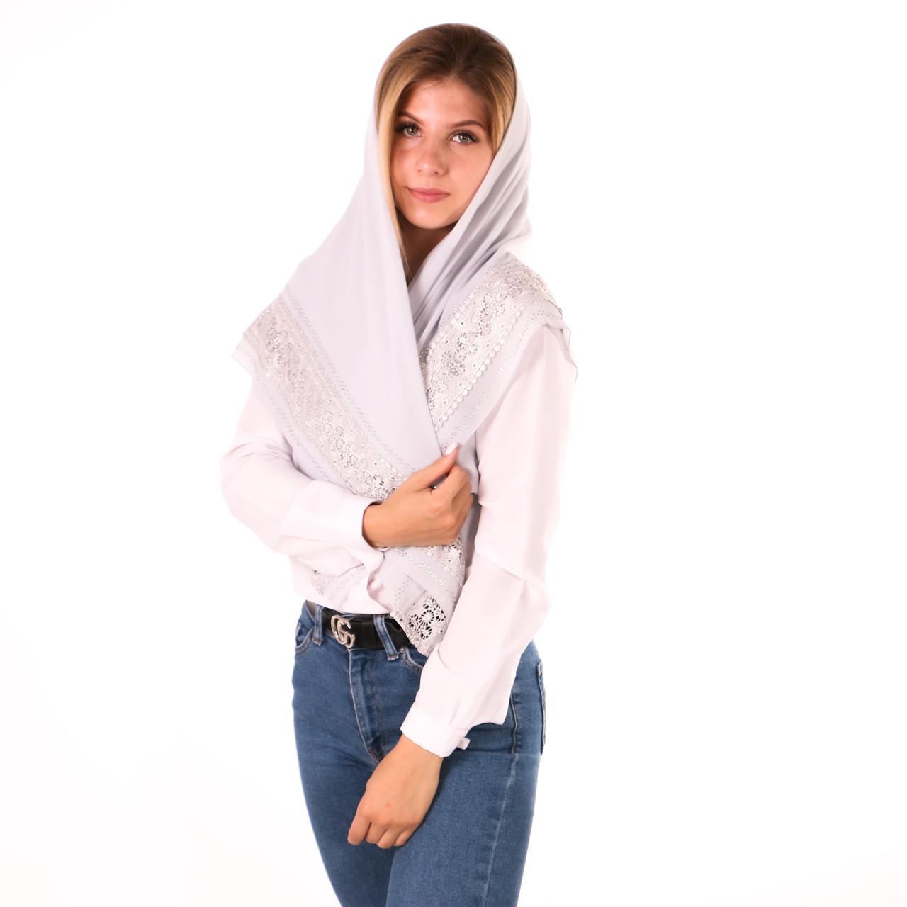 Сіра Хустка шифонова з камінцями SK/11