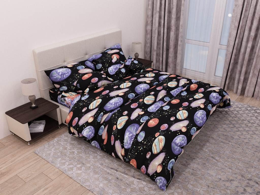 Комплект красивого постельного белья полуторка, планеты