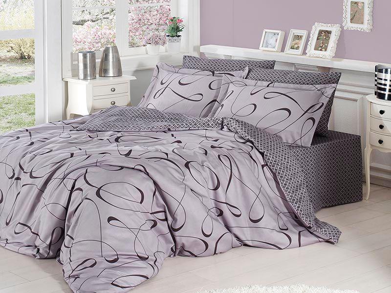 Отличное семейное постельное белье, серые узоры
