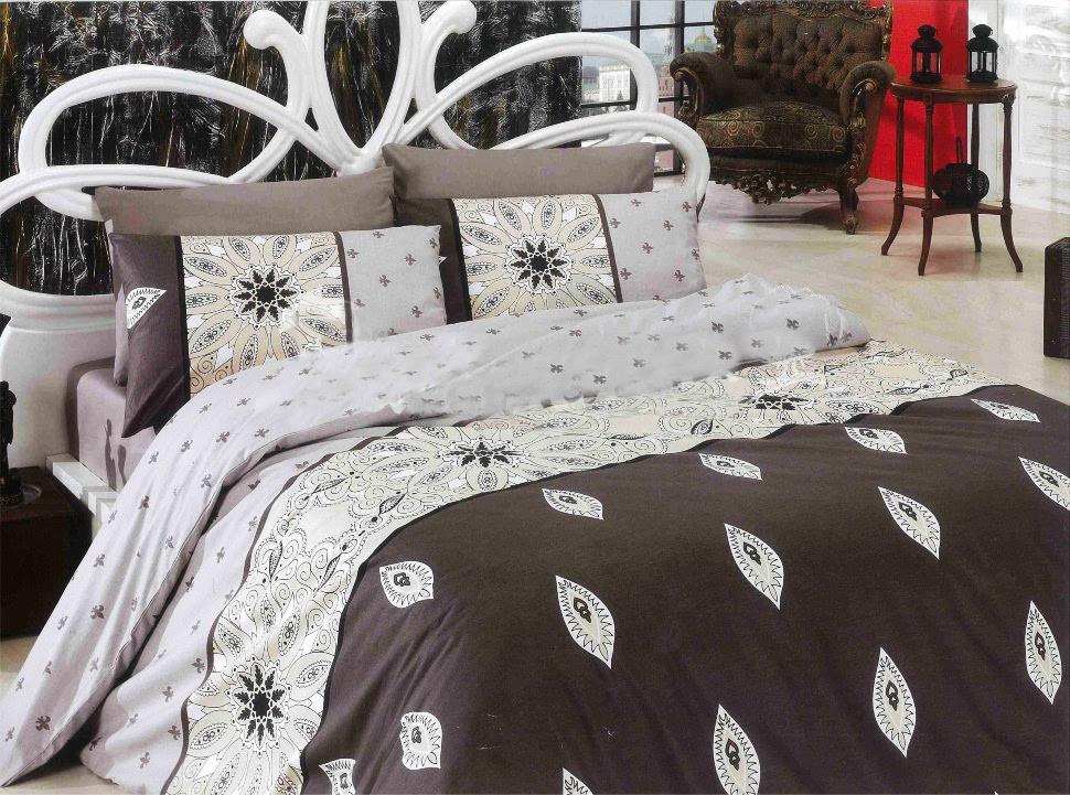 Стильное постельное белье отличного качества, полуторка, коричневое