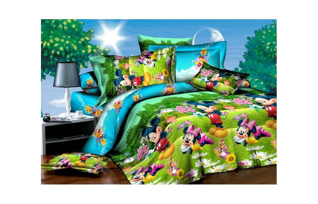Детское красивое постельное белье полуторка, мики маус