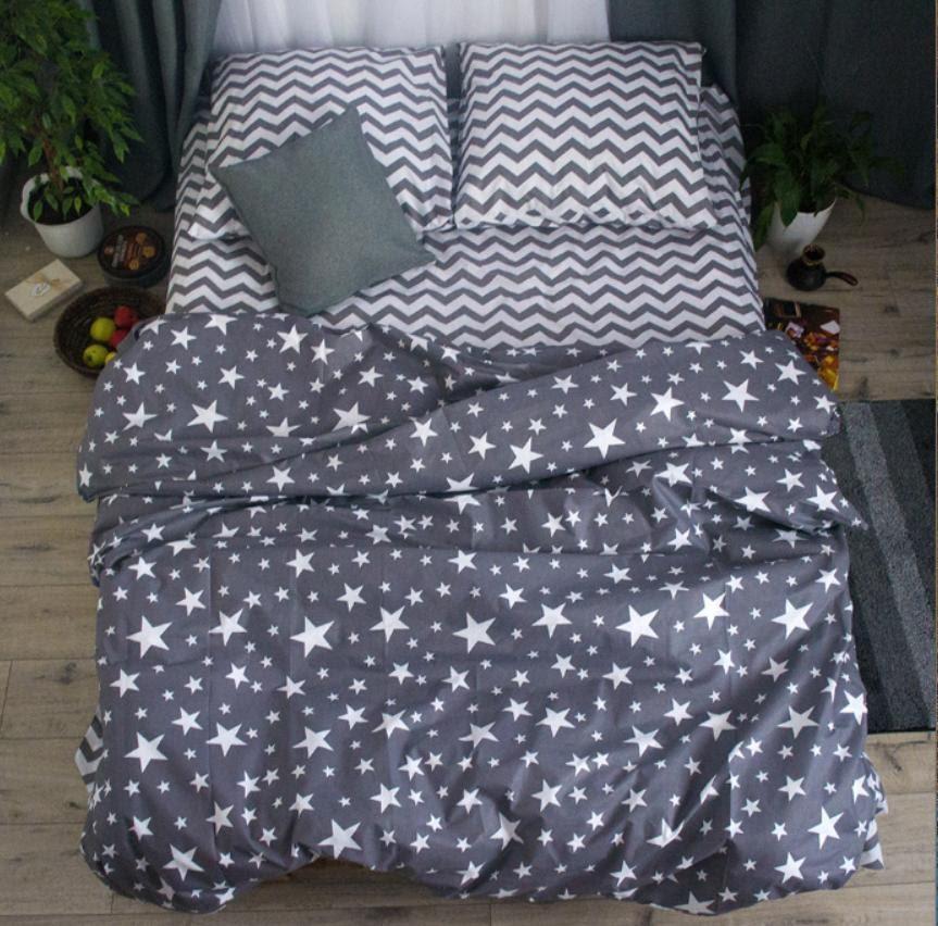 Комплект красивого постельного белья, двухспалка, серые звезды