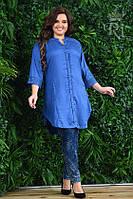 Женская элегантная туника синего цвета на застежке, фото 1