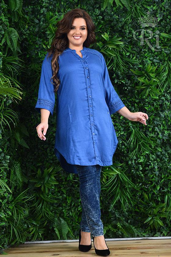 Женская элегантная туника синего цвета на застежке