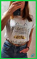 Женская белая летняя футболка с рисунком с коротким рукавом размер M