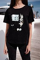 """Женская футболка с хлопка в принт """"Monday's"""" (42-46), фото 1"""