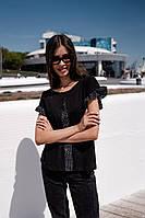 Женская футболка с хлопка с шифоновыми вставками (42-46), фото 1