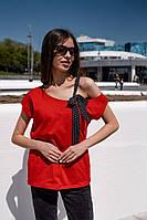 Женская футболка с хлопка с шифоновой ленточкой (42-46), фото 1