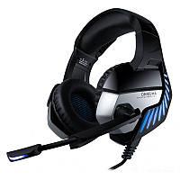 Игровые наушники с микрофоном и подсветкой Onikuma K5 PRO черные Black/blue геймерская гарнитура, фото 1