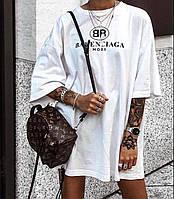 Женская летняя крутая длинная футболка платье белая черная кулир 42-46