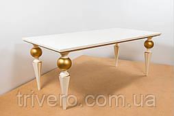Стол деревянный белый  с золотой патиной