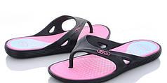 Женские сланцы шлепки вьетнамки шлепанцы пляжные розовый с черным 38р 24см