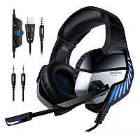 Игровые наушники Onikuma K5 PRO с микрофоном и подсветкой Black/blue (геймерские) черные, ігрові навушники
