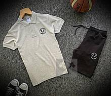 Мужской летний спортивный комплект Фрид Перри бело-черного цвета, фото 3