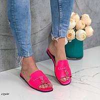 Женские шлепки кожаные розовые, фото 1