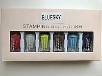 Набор лак-красок для стемпинга,Bluesky цветные