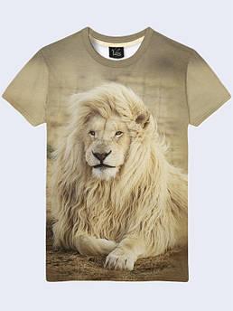 Мужская футболка с принтом Белый Лев