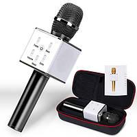 Bluetooth микрофон для караоке Q7 Блютуз микро Чехол Черный
