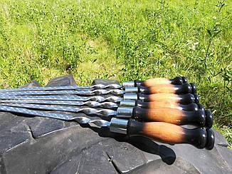 """Набор из 6 шампуров """"LUX"""" с деревянной ручкой, лакированный (640х12х3 мм)"""