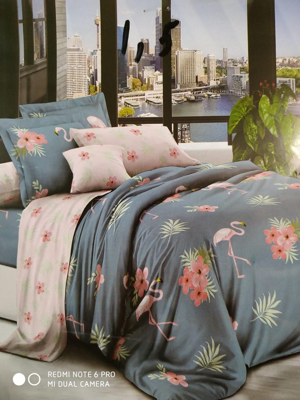 Комплект качественного постельного белья семейка, фламинго