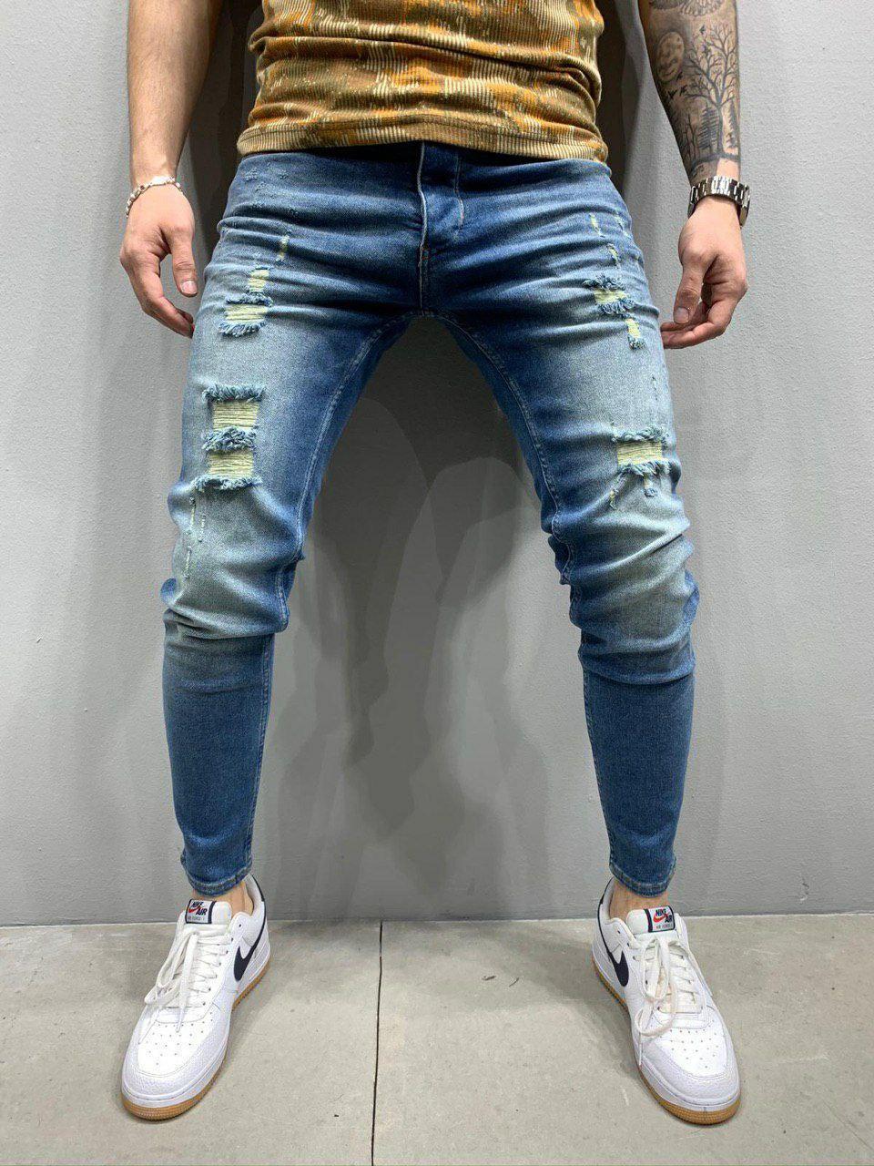 Мужские зауженные джинсы синие с разрывами, размеры 30, 31, 34