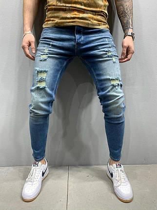 Мужские зауженные джинсы синие с разрывами, размеры 30, 31, 34, фото 2