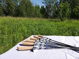 """Набор из 6 шампуров """"SWORD"""" с деревянной ручкой, гардой и гравировкой (640х12х3 мм)"""