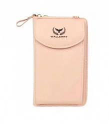 Кошелек клатч женский Wallerry ZL8591 с отделением для телефона Пудровый/Розовый