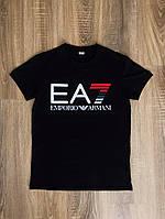 Черная футболка в стиле Emporio Armani EA7 logo   топ