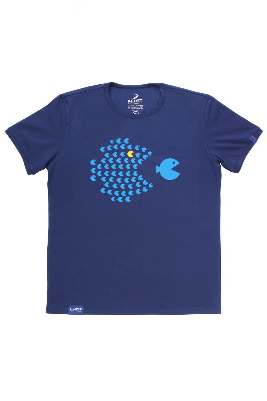 Футболка мужская синяя (принт- School Of Fish)