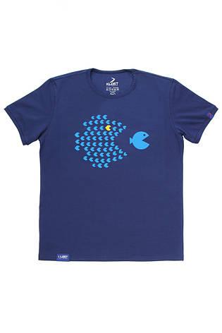 Футболка мужская синяя (принт- School Of Fish), фото 2