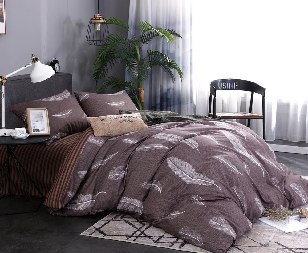 Комплект постельного белья отличного качества, полуторка, коричневое перо