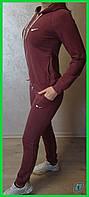 Женский стильный бордовый спортивный костюм с капюшоном костюм для спорта 44 размер