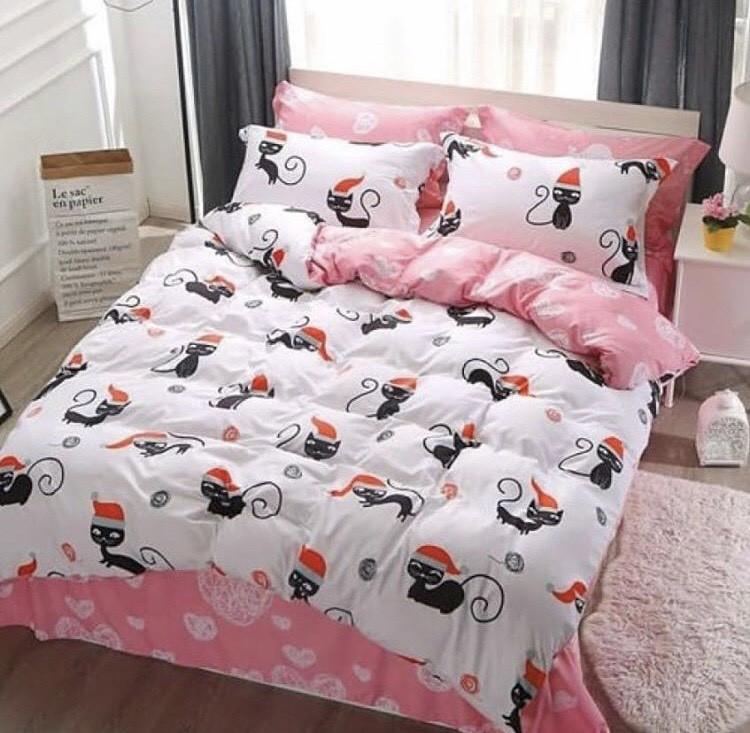 Качественное красивое постельное белье двойка, котики