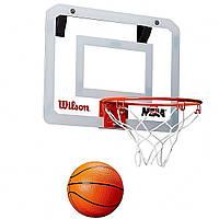 Мини-щит баскетбольный Wilson Basketball MiniHoop NBA 38х28 см с кольцом 22,5 см и сеткой (WTBA00219)