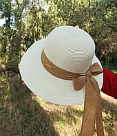 Женская летняя шляпа молочная с коричневой лентой и бантом
