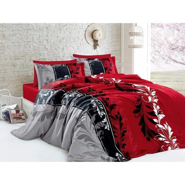 Комплект семейного постельного белья, ветражи красные